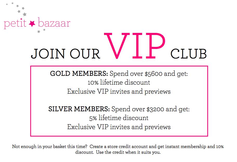 VIP CLUB Membership at petit bazaar hong kong